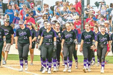 —Photo by Sherry Loudermilk CLASS 2A STATE SOFTBALL TOURNAMENT (COALGATE VS SILO) – The Lady Cats' last walk off the field at the 2019 State Tournament. More photo