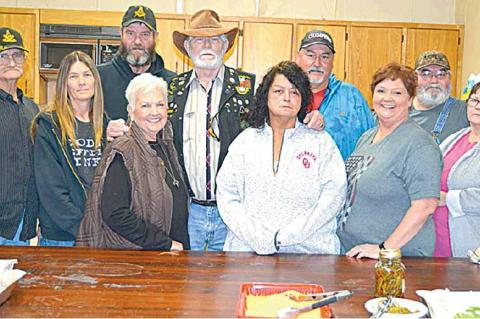 BOTTOM PICTURE — Hosts, organizers and Masons at the Glenn Watkins benefit dinner held at the Coalgate Park Community Center. From left (front) – Lodge Master Bob Horn, Tammy Lambert, Pat Coleman, Diana Pebworth-Watkins, Shonda Pebworth, Mary Pebworth