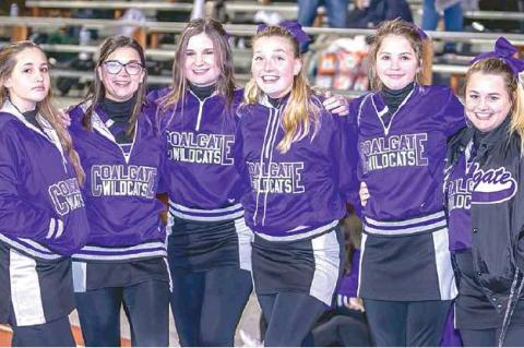 COALGATE VS KINGSTON —Wildcat cheerleaders at the Coalgate/Kingston game. Makayla Wilson, Amy Walton, Hannah Hall, Elisa Palmer, Delaney James, and Karsyn Flowers, from left.