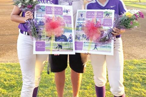 SOFTBALL GIRLS RECOGNIZED AT SENIOR NIGHT