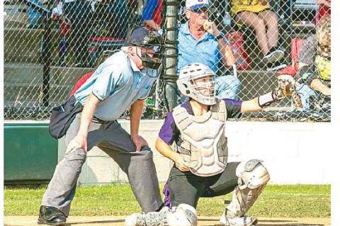 —Photo by Sherry Loudermilk CLASS 2A STATE SOFTBALL TOURNAMENT (COALGATE VS SILO) – Coalgate senior hind catcher Katyn Denson #22 working hard behind the plate